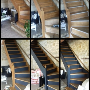 accueil escalier en bois relook. Black Bedroom Furniture Sets. Home Design Ideas